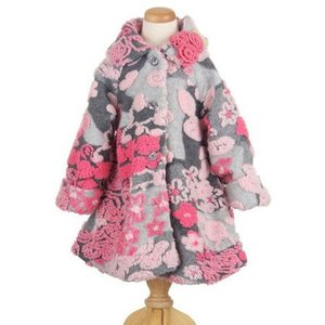 Mack&Co(マックアンドコー)Heather Gray/Pink Monet'sGarden Hi-Lo Faux Fur スウィングコート 30%Off|sugardays