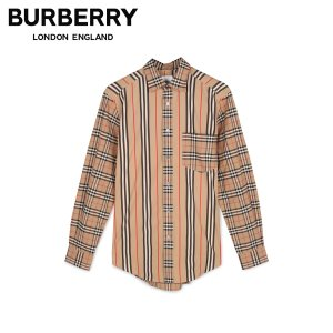 BURBERRY バーバリー シャツ 長袖 オックスフォードシャツ メンズ チェック ストライプ SHIRTS ベージュ 8010640 [2020/1/24 新入荷]|sugaronlineshop