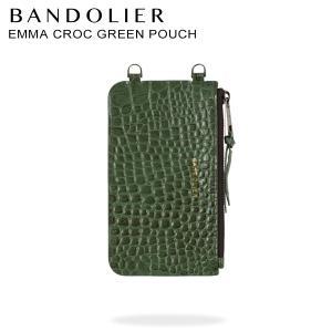 バンドリヤー BANDOLIER  ポーチ スマホ 携帯 レディース  EMMA CROC GREEN POUCH グリーン 20emm|sugaronlineshop