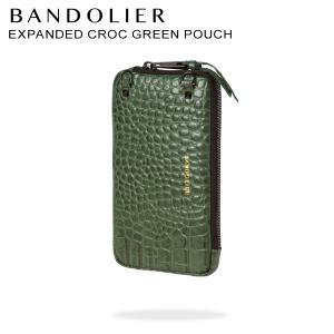バンドリヤー BANDOLIER  ポーチ スマホ 携帯 レディース  EXPANDED CROC GREEN  POUCH グリーン 21emm|sugaronlineshop