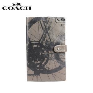 コーチ COACH グレー×ブラック メンズ レディース ノートブック バワリー レザー バイク プリント sugaronlineshop