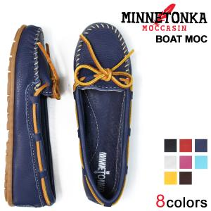 MINNETONKA ミネトンカ モカシン ボート レザー モック レディース BOAT MOC 白 黒 赤 ピンク