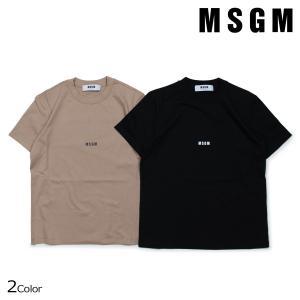エムエスジーエム Tシャツ レディース MSGM 半袖 MICRO LOGO T-SHIRT ブラック ブラウンベージュ 2541MDM100 184798 7/18 新入荷|sugaronlineshop