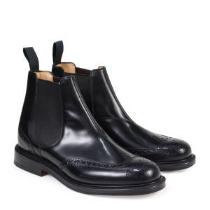 訳あり BOXなし チャーチ Churchs 靴 ブーツ サイドゴア ショートブーツ ウイングチップ メンズ KETSBY CHELSEA BOOTS ブラック 黒 ETB001 返品不可|sugaronlineshop