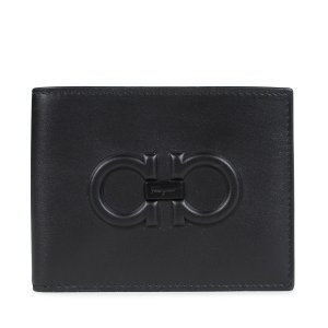 Salvatore Ferragamo 財布 メンズ 二つ折り フェラガモ FIRENZE LOGO WALLET ブラック 66A248|sugaronlineshop