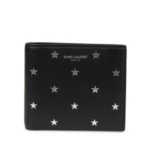 サンローラン パリ SAINT LAURENT PARIS 財布 二つ折り 本革 メンズ レディース STAR PRINT WALLET ブラック 黒 3963070O7GN [10/7 新入荷]