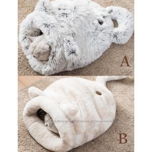 2タイプペットベッド 冬 犬 猫 ぶくろ 保温  あったか 暖かい おすすめ 介護 丈夫 ペットベッド クッション 寝袋 ボア エコ クッションブラウン グレー 洗える
