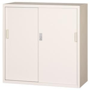 ホワイト色 スチール書庫 キャビネット スチール収納 スチール棚 書類棚 本棚 書棚 引き違い書庫 鍵付き スチール扉 303D-AW sugihara