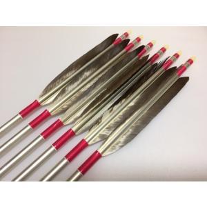 花白鳥 ジュラルミン矢6本セット ピンク糸 シルバーシャフト|sugiyama-kyuguten