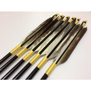 花白鳥 ジュラルミン矢6本セット 黄色糸 黒シャフト|sugiyama-kyuguten