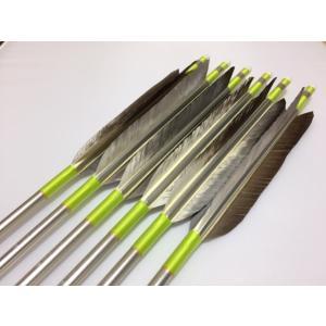 花白鳥 ジュラルミン矢6本セット ライムイエロー糸 シルバーシャフト|sugiyama-kyuguten