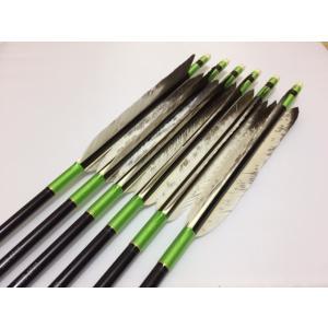 花白鳥 ジュラルミン矢6本セット 黄緑糸 黒シャフト|sugiyama-kyuguten