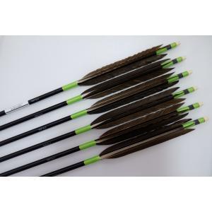 黒鷲 ジュラルミン矢6本セット 黄緑糸 黒シャフト|sugiyama-kyuguten