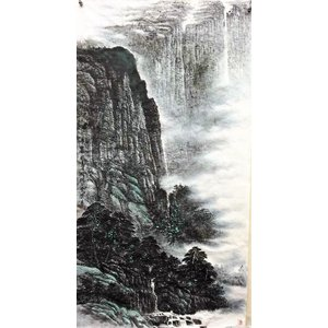 水墨画 山水図 中国画 墨彩画 天壁no2