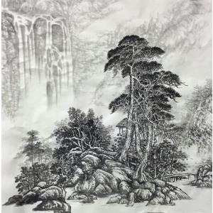 水墨画。山水図、松と滝。傅栄基作。no19