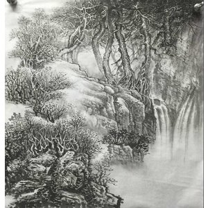 水墨画  山水図  枯れ木と滝 no20  傅栄基作
