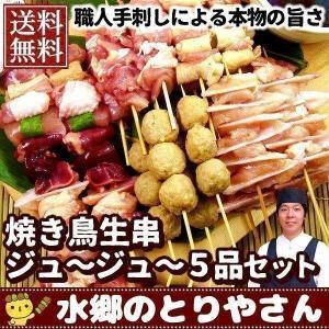 焼き鳥セット 生 ジュージュー5品セット 塩・タレ付 バーベキュー BBQ
