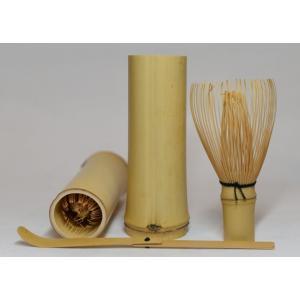 【茶器・茶道具】 野点用茶筅・竹筒・茶杓セット(和製)