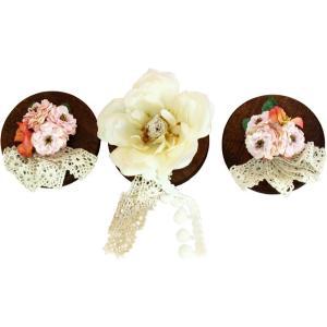 ひな人形 ひな道具 単品 部品 売り 花 桜橘 飾り フラン レース付 3点セット 111484 suiho