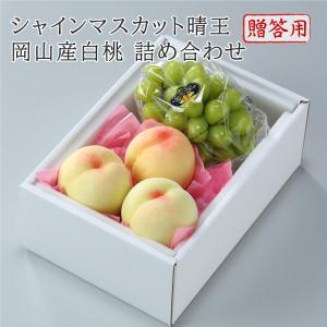 【送料無料】岡山県産 白桃 シャインマスカット 詰め合わせ 【予約 7月上旬より発送】 岡山白桃 桃 もも マスカット ぶどう ブドウ 葡萄 果物 くだもの フルーツ