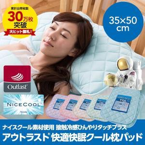 接触冷感ナイスクール素材使用アウトラスト(R)快適快眠クール枕パッド (同色2枚組)