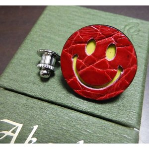 Boutonniere smily 最高級クロコダイルレザー製 スマイリーブートニエール (ニコちゃんピンズ) レッド|suisho