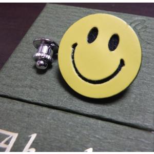 Boutonniere smily 最高級カーフレザー製 スマイリーブートニエール (ニコちゃんピンズ) イエロー|suisho