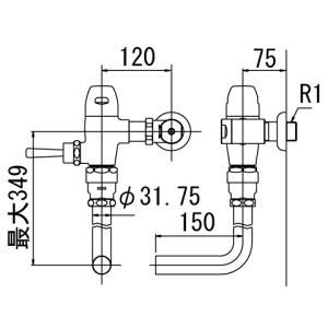 大便器用フラッシュバルブ 節水形 壁給水タイプ LIXIL・INAX CF-50U|suisuimart