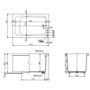 RPB-1102WAR/L11-S-B リンナイ ホールインワン用浴槽 1100サイズ 右排水 循環口なし|suisuimart