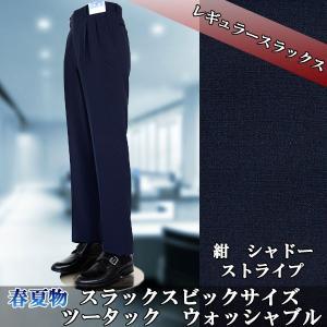 スラックス 大きいサイズ 紺 シャドーストライプ ウォシャブル ツータックス すべり止め付き 春夏 1FD002-21|suit-depot