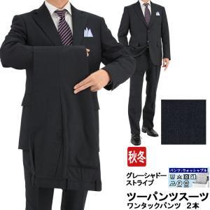 スーツ メンズ ツーパンツ パンツ2本 ビジネススーツ グレー シャドーストライプ 秋冬 2M6C02-23|suit-depot