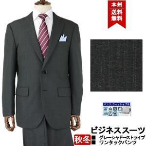ビジネススーツ メンズスーツ グレー シャドーストライプ 秋冬 スーツワンタック 洗えるパンツウォッシャブル機能 2R5C62-23|suit-depot