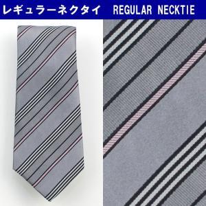 ネクタイ ビジネス シルク100% グレー ストライプ 31061-391|suit-depot