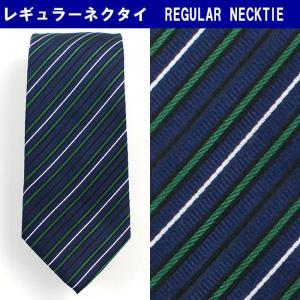 ネクタイ ビジネス シルク100% 紺 ストライプ 31061-413|suit-depot