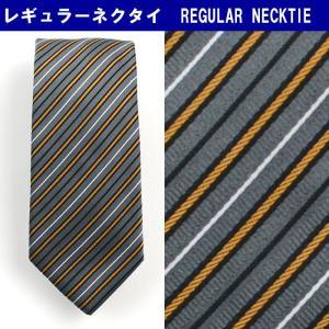 ネクタイ ビジネス シルク100% グレー ストライプ 31061-414|suit-depot