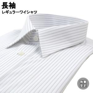 ワイシャツ 長袖 形態安定 レギュラーカラー グレー ストライプ 38Z117-24|suit-depot