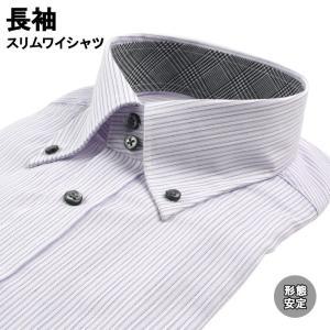 ワイシャツ 長袖 形態安定 スリムワイシャツ デュエボットーニ ボタンダウン 38Z149-27|suit-depot