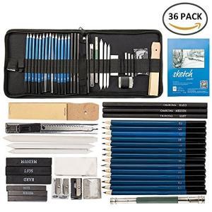 Happyyoo スケッチ鉛筆 デッサン鉛筆 36点セット 絵画 スケッチ用の鉛筆セット ポータブル...