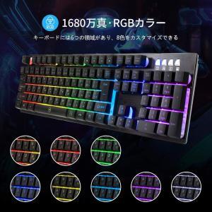 ゲーミングキーボード 日本語配列 EZONTEQ 有線キーボード RGB 8色 LEDバックライト 25キー防衝突|suityuugekka
