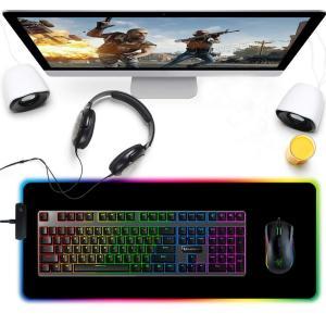RGBソフトゲーミングマウスパッド 特大発光LED拡張マウスパッド 9モード 7色の発光色? ノンス...