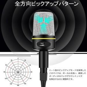 Htwon コンデンサーマイク スタジオ 単一指向性 スタンド付き 3.5ミニプラグ マイクロフォン 高感度 高音質 集音 会議 skype|suityuugekka