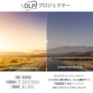 iOCHOW iO4 ミニ プロジェクター 小型 DLP 3000 ルーメン 1080PフルHD対応 1280*720解像度 自動台形補正|suityuugekka