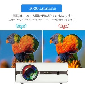 TopRui U45 小型プロジェクター LED 3000lm 1080PフルHD映像対応 ホームシアター・スマホ・タブレット・ゲーム機・U|suityuugekka