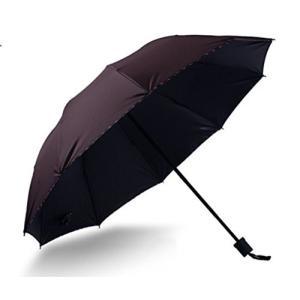 日傘 折りたたみ 紫外線 UVカット 裏地 黒色コーティング 遮光 開傘直径104cm (ブラウン)|suityuugekka