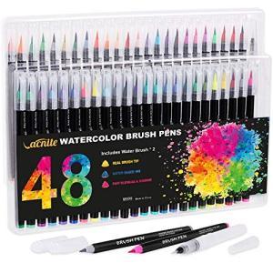 VACNITE 水彩毛筆 カラー筆ペン 48色セット 水性筆ペン 水彩ペン 絵描き 塗り絵 アートマ...