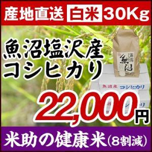 【29年度産新米】魚沼塩沢産コシヒカリ「米助の健康米(8割減)」白米30Kg