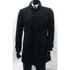 ウール100%コート シャツスタンドカラー 4色 sukipio