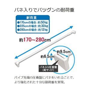 突っ張り棒 つっぱり棒 幅170〜280cm 部屋干し 物干し 室内 強力 アイリスオーヤマ 極太 収納 押し入れ収納 伸縮棒  H-GBJ-280 ホワイト|sukusuku|03