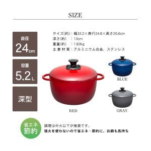 (在庫処分)鍋 無加水鍋 おしゃれ デザイン無加水鍋 GMKS-24D アイリスオーヤマ|sukusuku|21