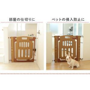 (サマーセール)ベビーゲート とおせんぼ 階段 階段下 柵 キッチン つっぱり 突っ張り 赤ちゃん おしゃれ 子供 こども ベビーフェンス 拡張 ベージュ (D) sukusuku 03